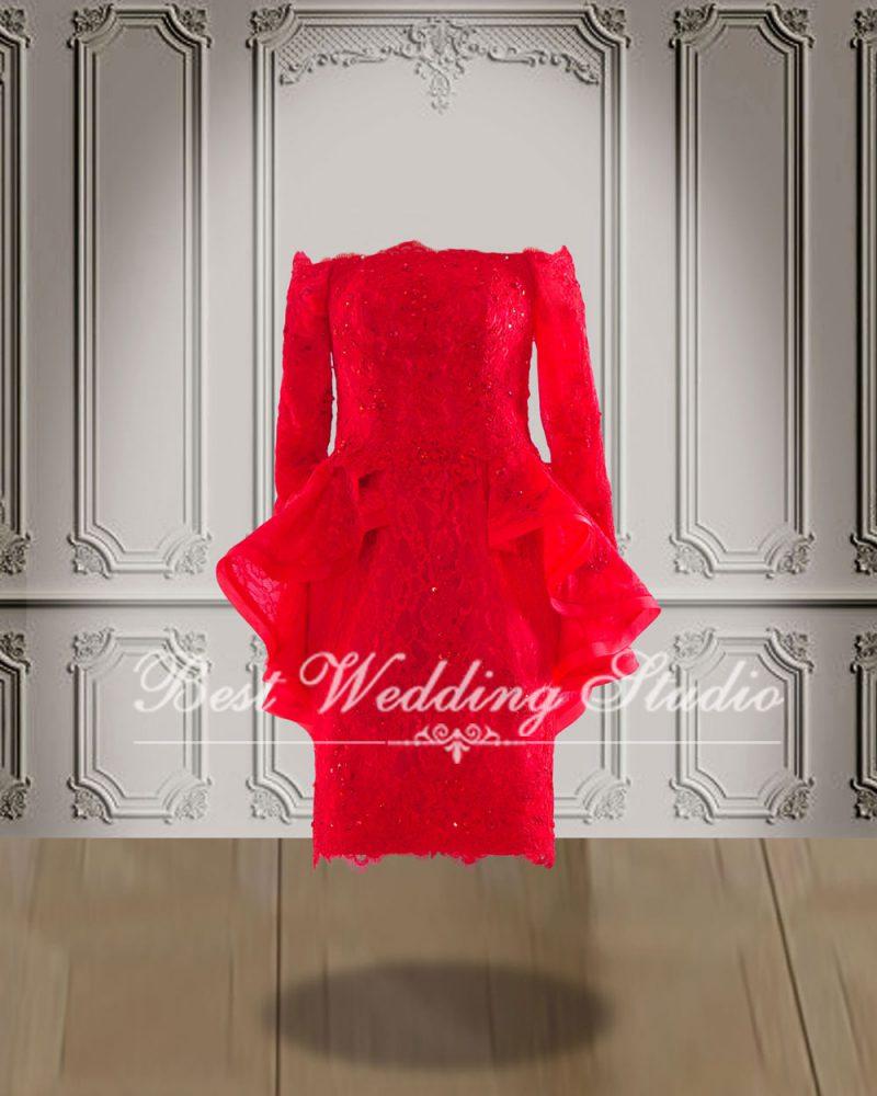 ชุดเดรสสั้น สวยๆ สีแดง
