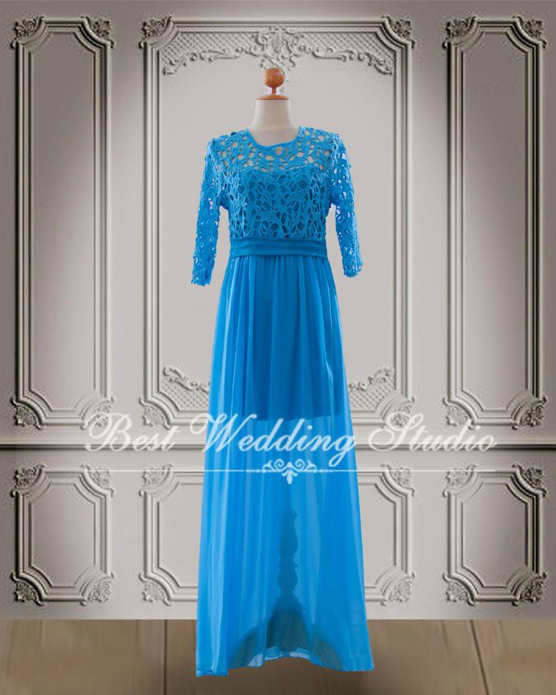 ชุดราตรียาว W10617-3XL สีฟ้า