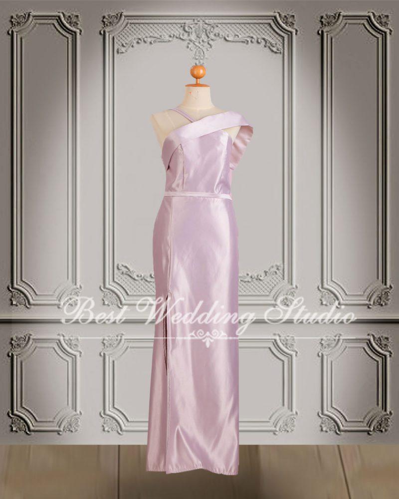 ชุดไปงานแต่งงาน สีชมพูกลีบบัว W10680